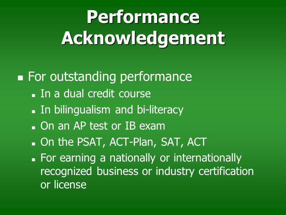 Performance Acknowledgement