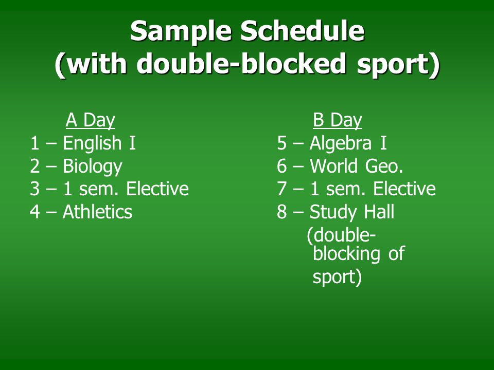 Sample Schedule (with double-blocked sport)