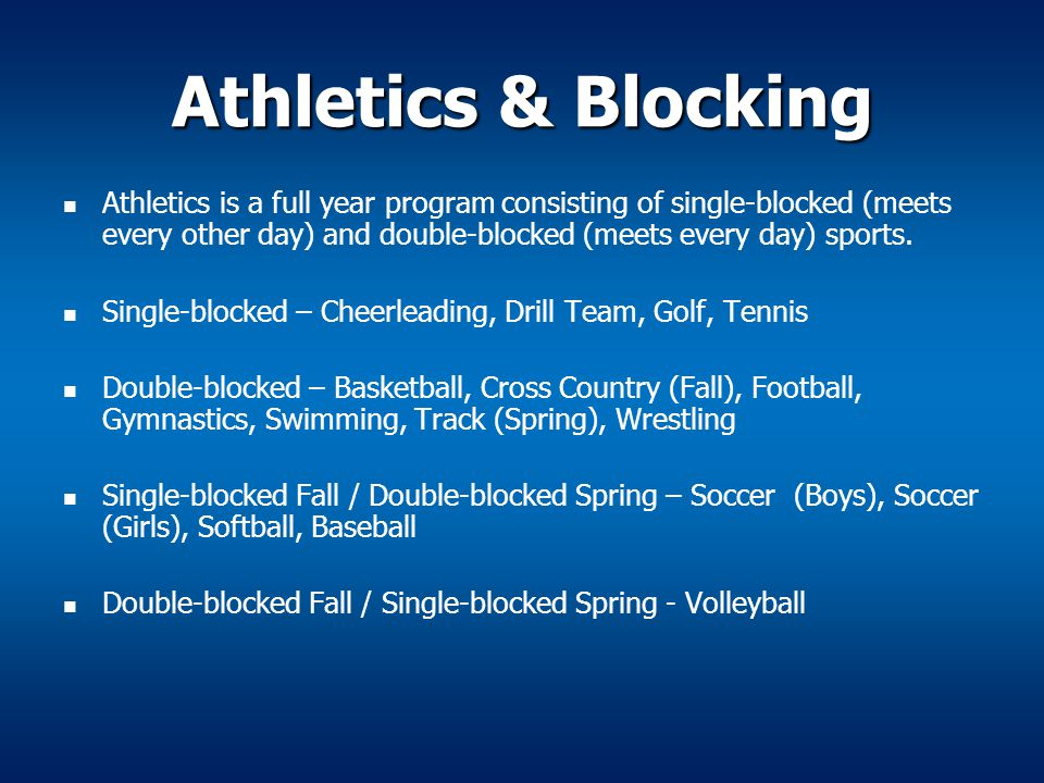 Athletics & Blocking