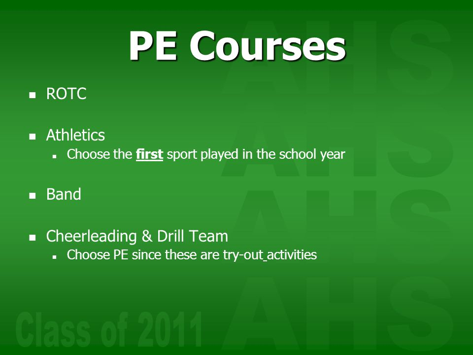PE Courses ROTC Athletics Band Cheerleading & Drill Team