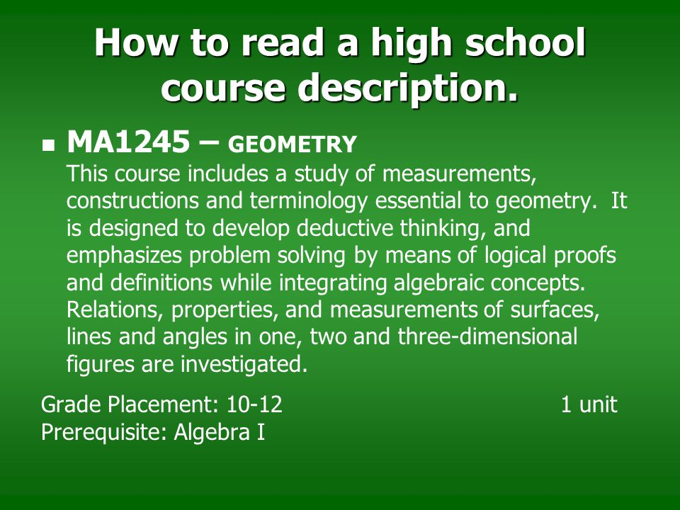 How to read a high school course description.