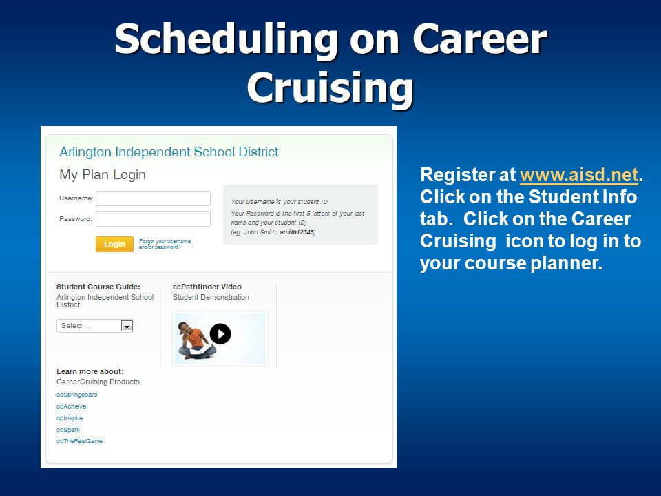 Scheduling on Career Cruising