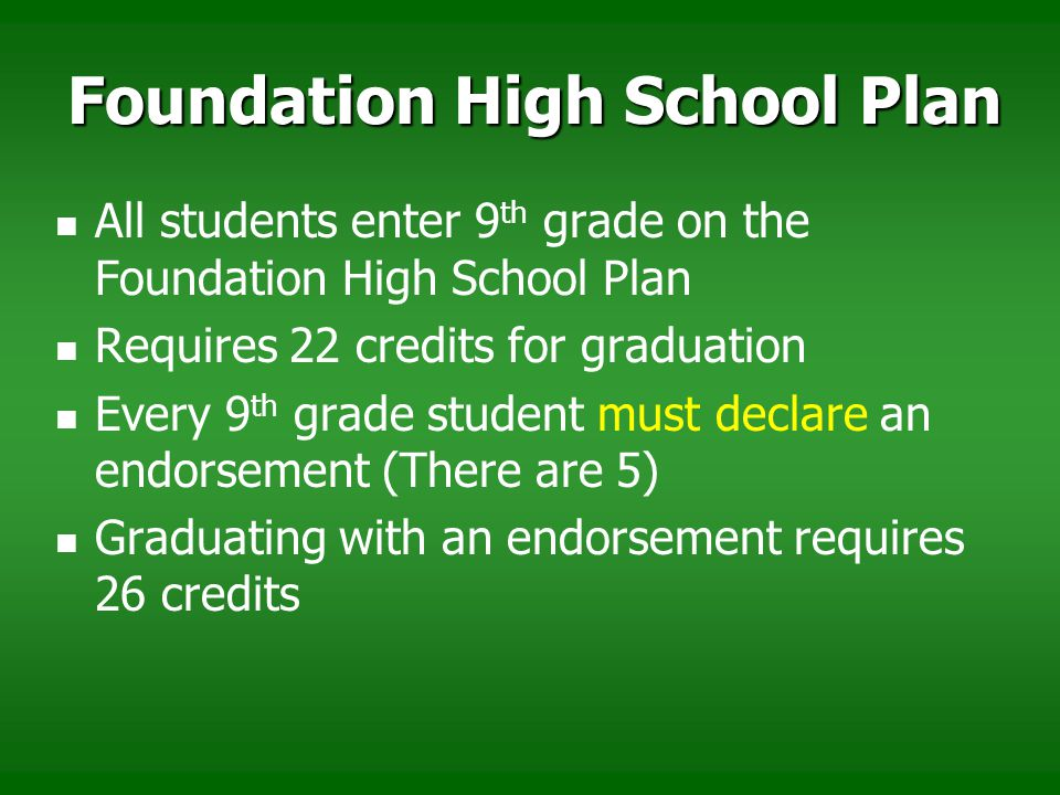 Foundation High School Plan