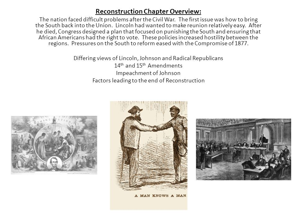 Reconstruction Chapter Overview: