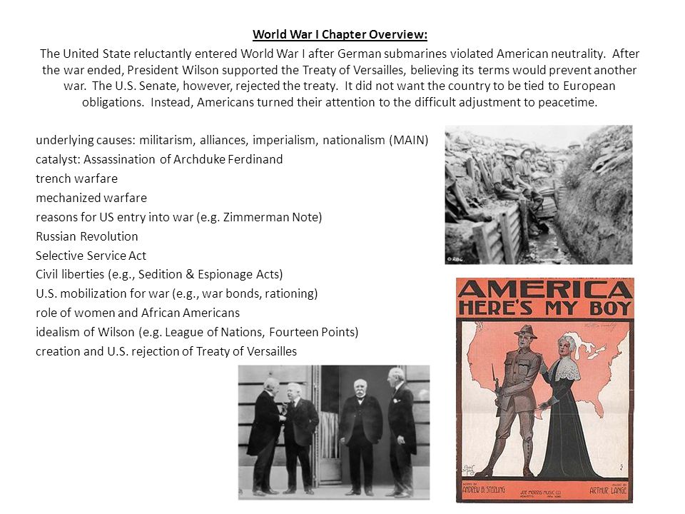 World War I Chapter Overview:
