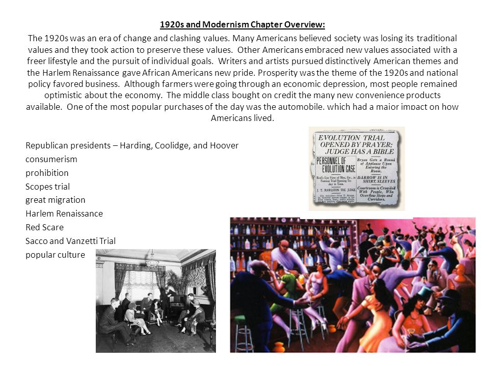 1920s and Modernism Chapter Overview: