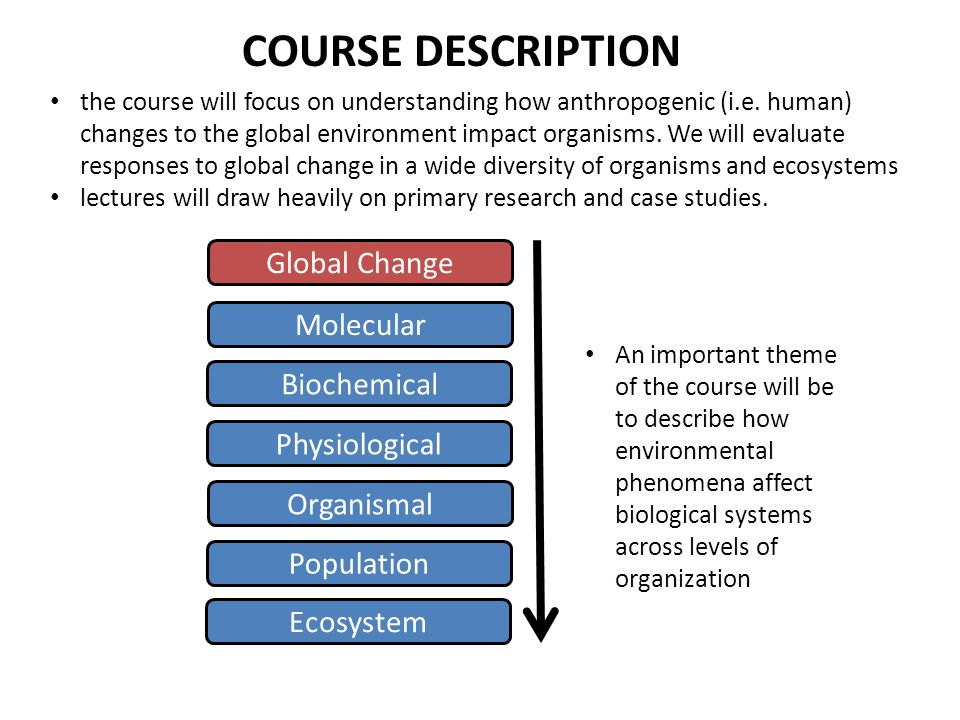 COURSE DESCRIPTION Global Change Molecular Biochemical Physiological