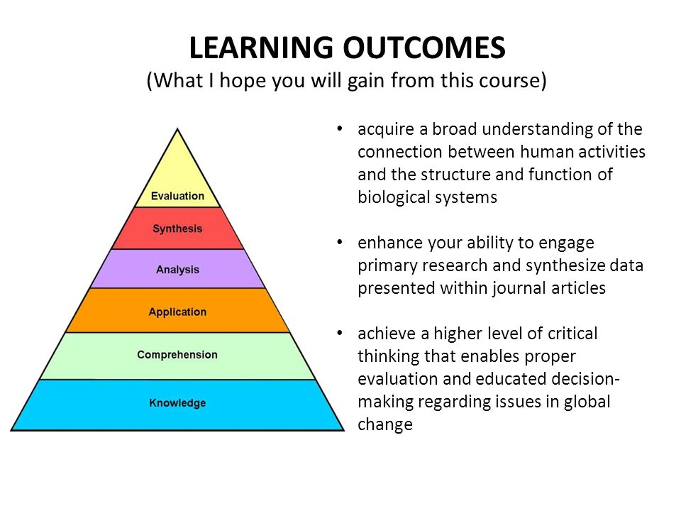 LEARNING OUTCOMES (What I hope you will gain from this course)