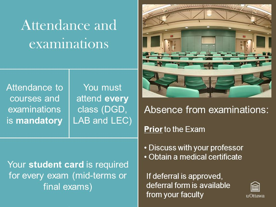 Attendance and examinations