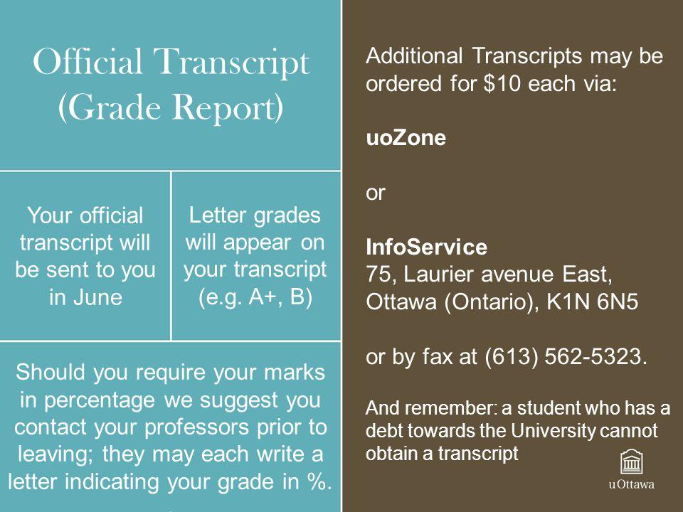 Official Transcript (Grade Report)