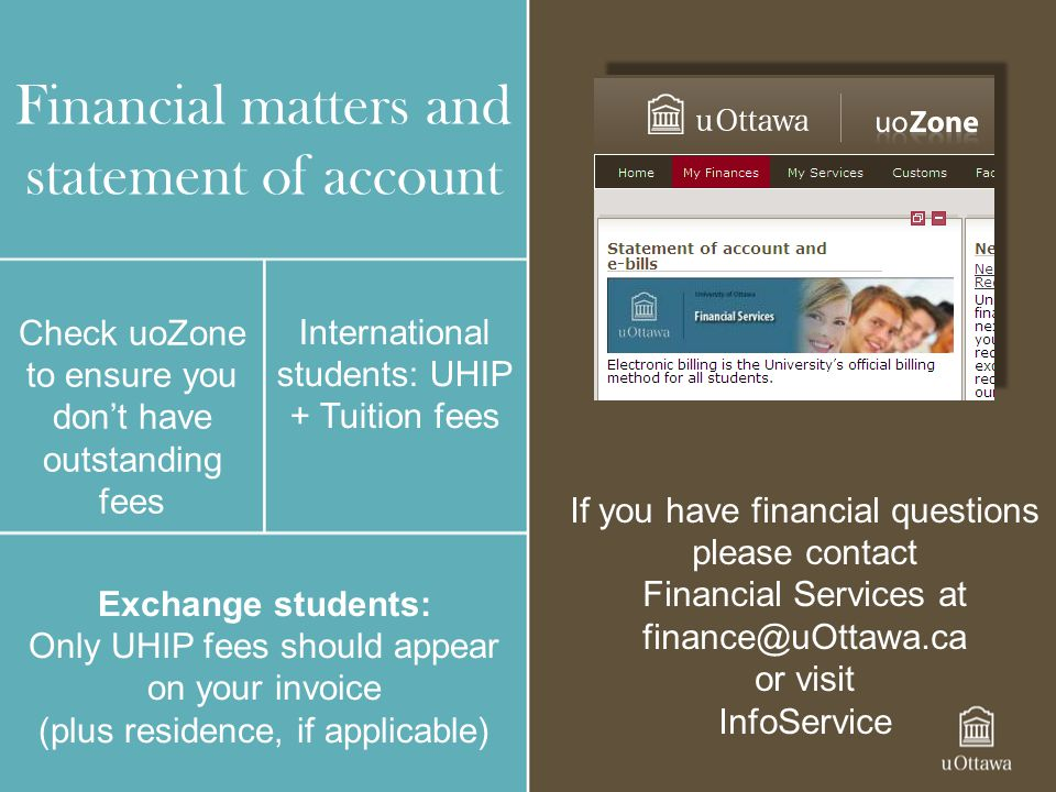 Financial matters and statement of account
