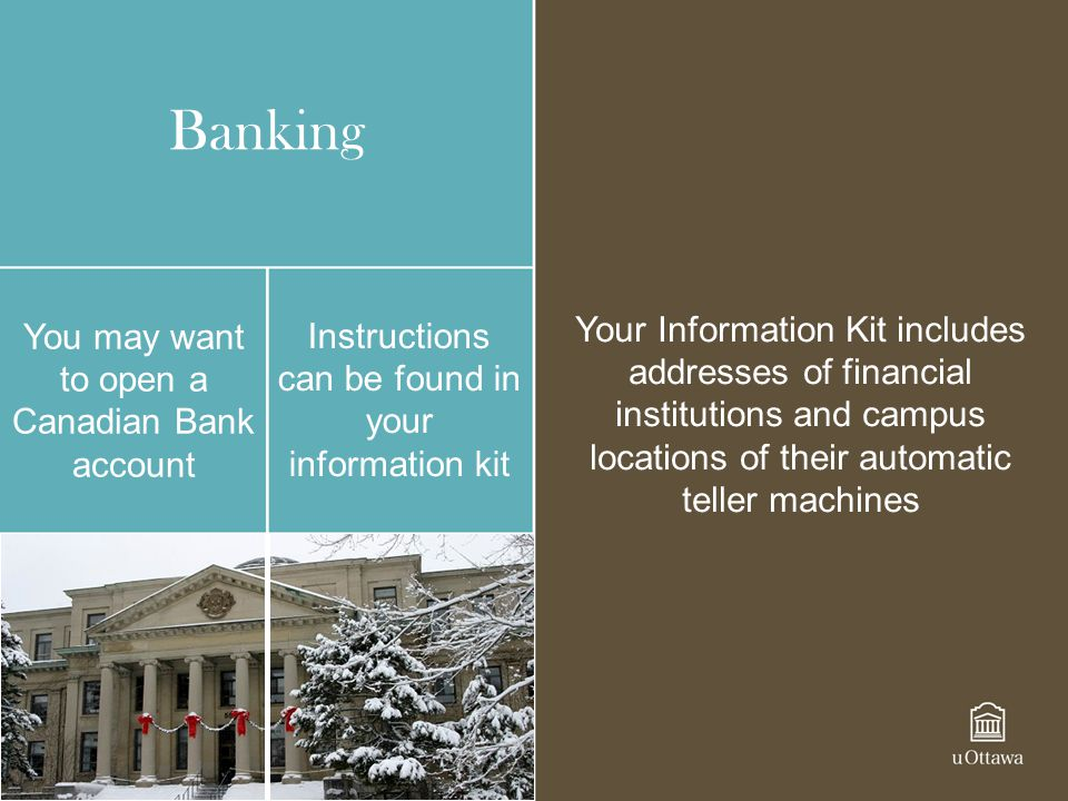 Banking Your Information Kit includes addresses of financial institutions and campus locations of their automatic teller machines.