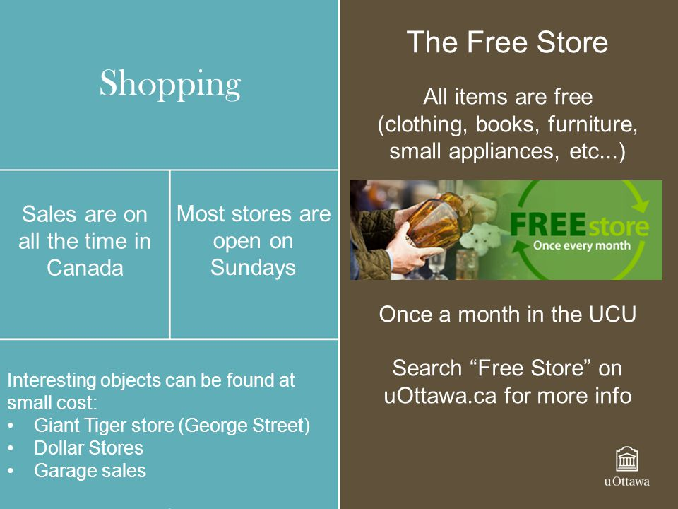 Shopping The Free Store All items are free