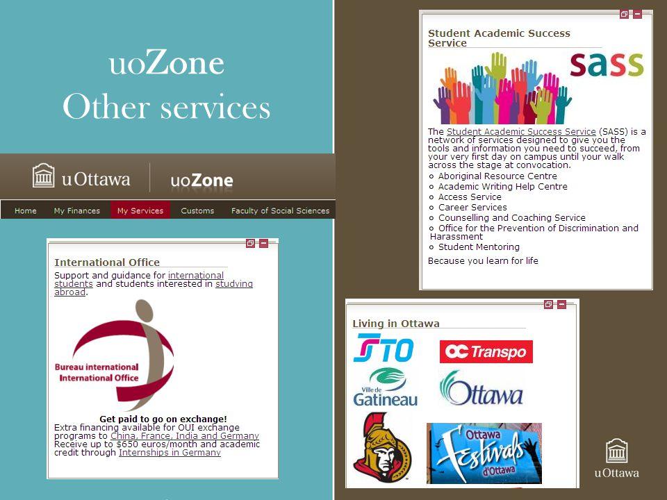 uoZone Other services Use uoZone access information regarding: