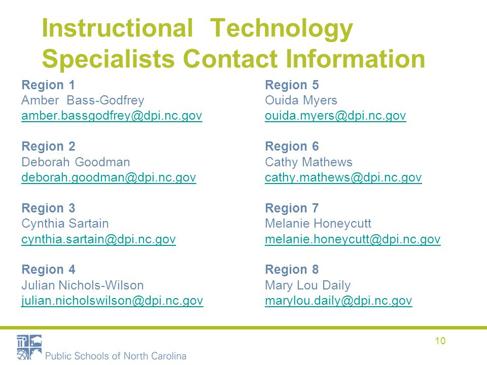 Instructional Technology Specialists Contact Information