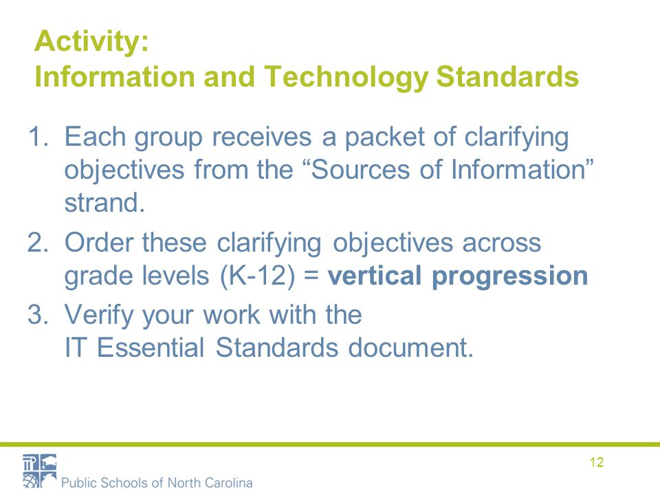 Activity: Information and Technology Standards