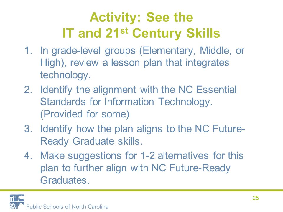 Activity: See the IT and 21st Century Skills