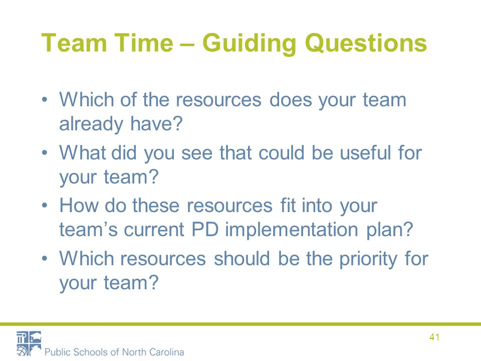 Team Time – Guiding Questions
