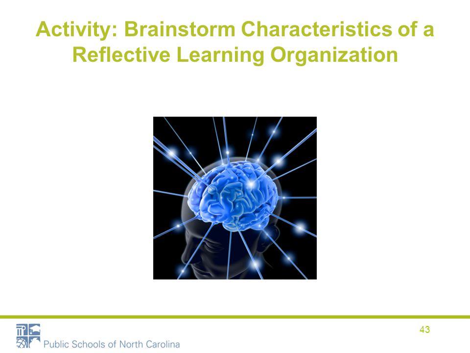 Activity: Brainstorm Characteristics of a Reflective Learning Organization