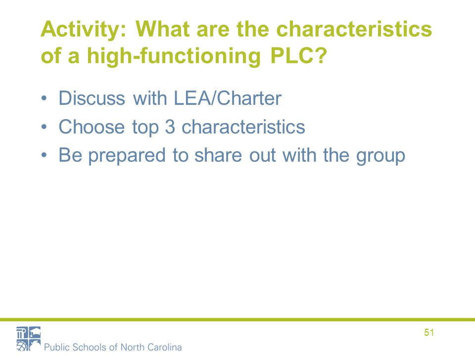 Activity: What are the characteristics of a high-functioning PLC