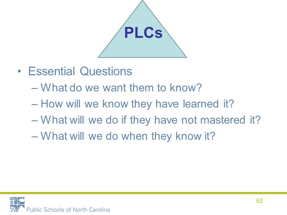 PLCs Essential Questions What do we want them to know