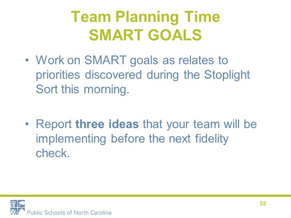 Team Planning Time SMART GOALS