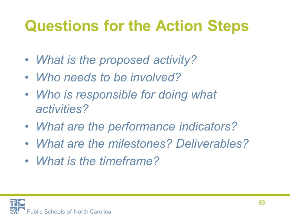 Questions for the Action Steps