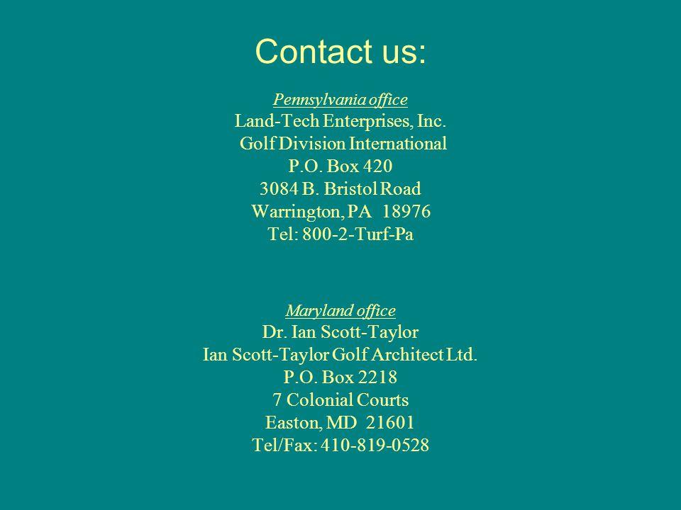 Contact us: Pennsylvania office Land-Tech Enterprises, Inc