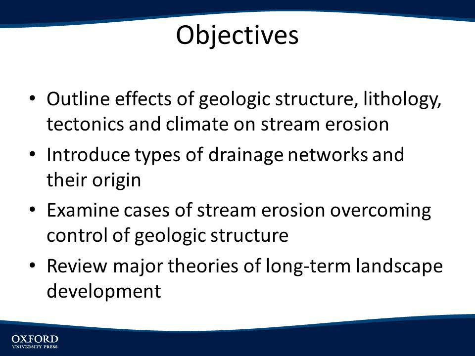 Objectives Outline effects of geologic structure, lithology, tectonics and climate on stream erosion.
