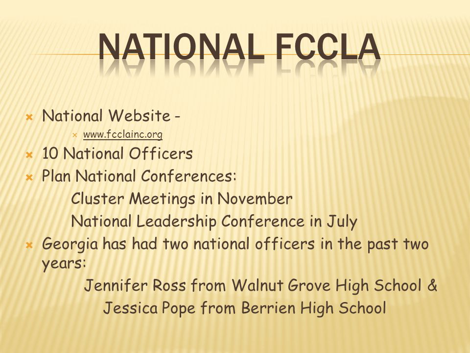 National FCCLA National Website - 10 National Officers
