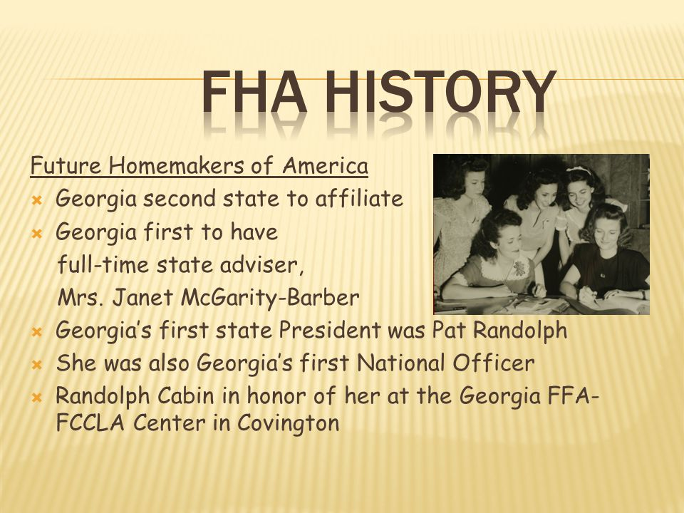 FHA History Future Homemakers of America