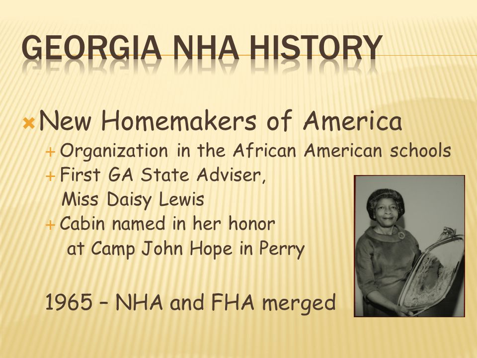 Georgia NHA History New Homemakers of America