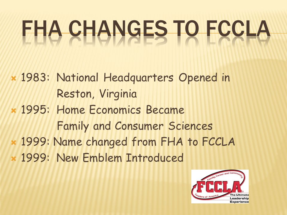 FHA changes to fccla 1983: National Headquarters Opened in