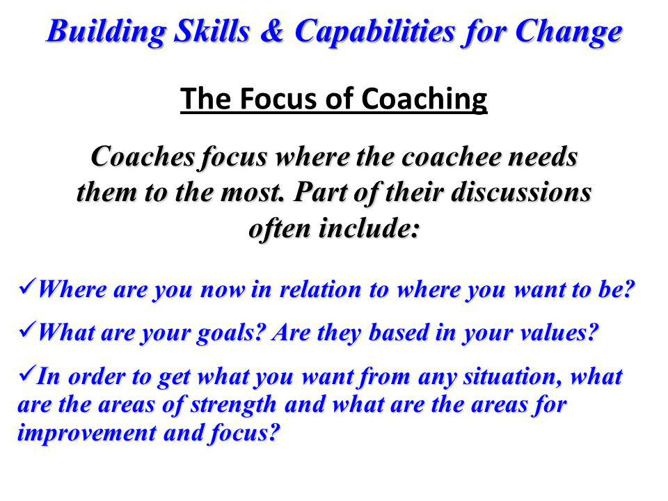 The Focus of Coaching Coaches focus where the coachee needs