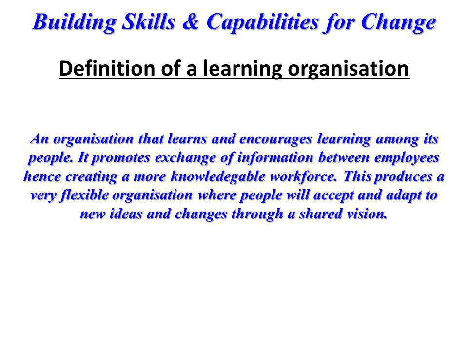 Definition of a learning organisation