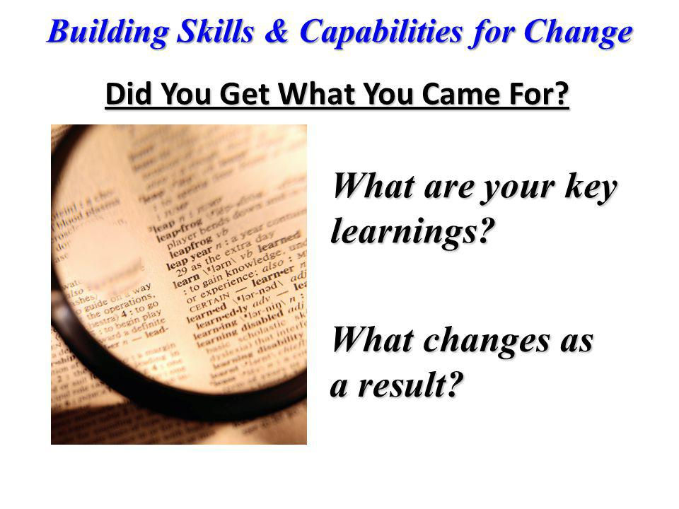 What are your key learnings What changes as a result