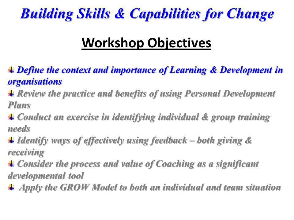 Workshop Objectives Define the context and importance of Learning & Development in organisations.