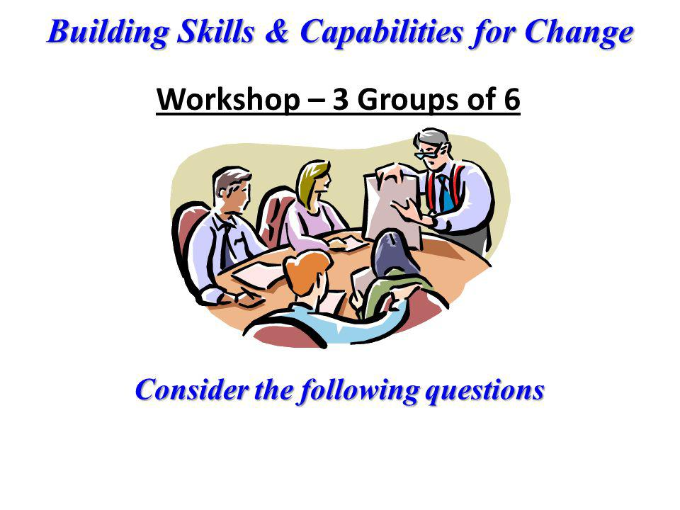 Workshop – 3 Groups of 6 Consider the following questions
