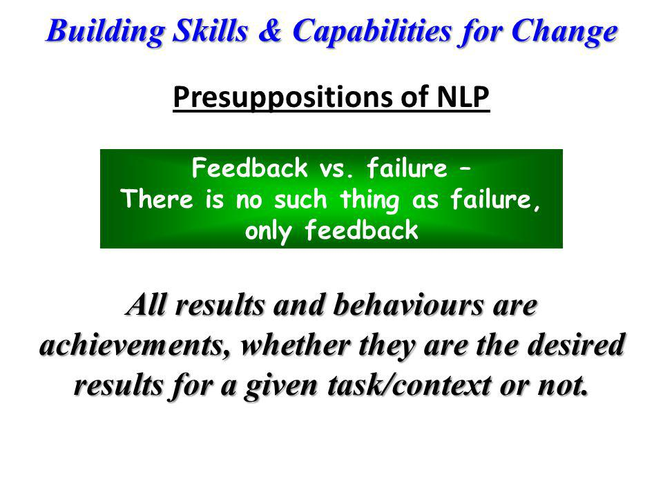 Presuppositions of NLP There is no such thing as failure,
