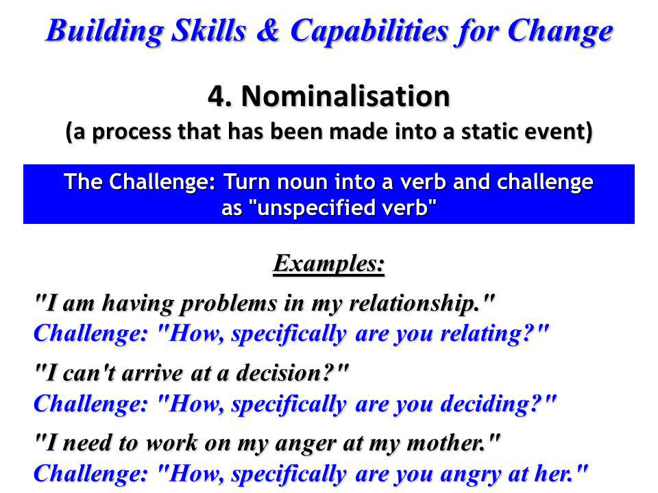 4. Nominalisation (a process that has been made into a static event)