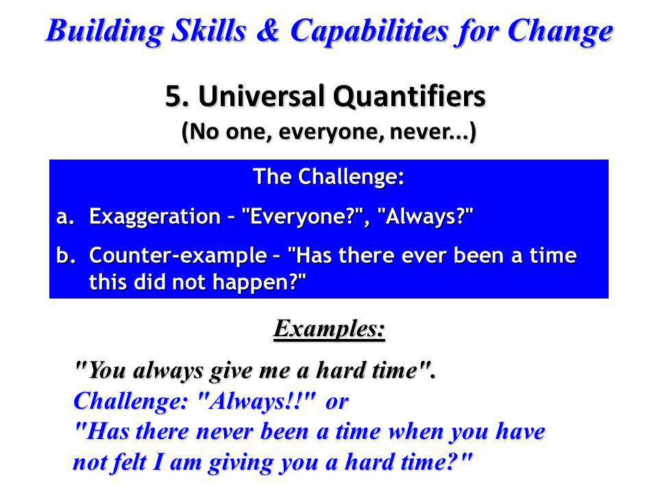 5. Universal Quantifiers (No one, everyone, never...)