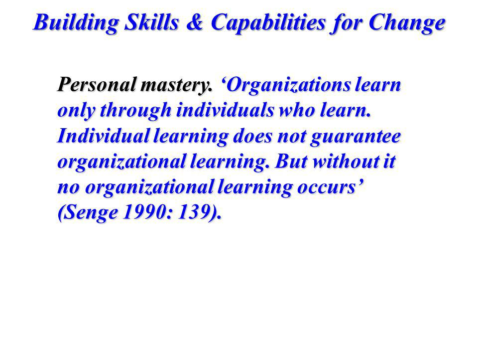 Personal mastery. 'Organizations learn only through individuals who learn.
