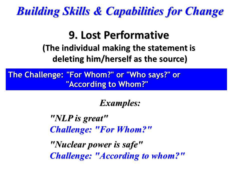 9. Lost Performative (The individual making the statement is