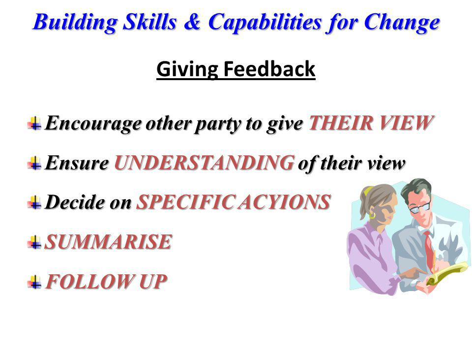 Giving Feedback Encourage other party to give THEIR VIEW