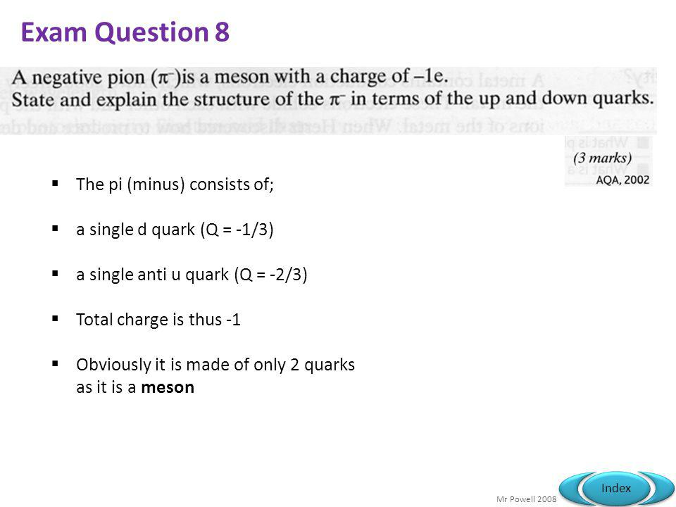 Exam Question 8 The pi (minus) consists of;