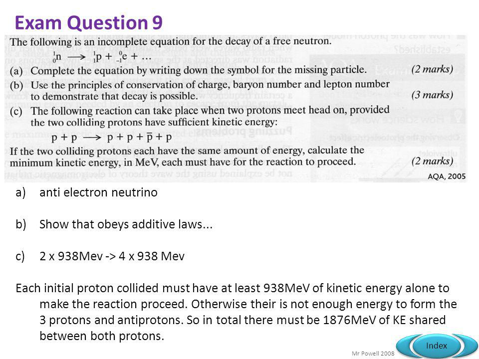 Exam Question 9 anti electron neutrino