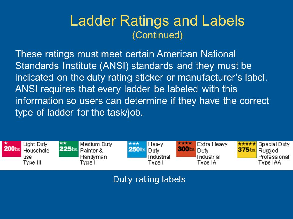 Ladder Ratings and Labels (Continued)