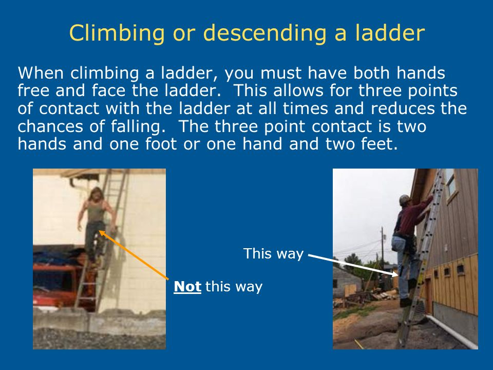 Climbing or descending a ladder