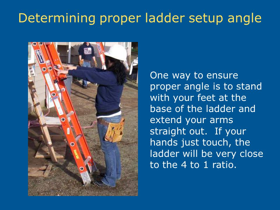 Determining proper ladder setup angle