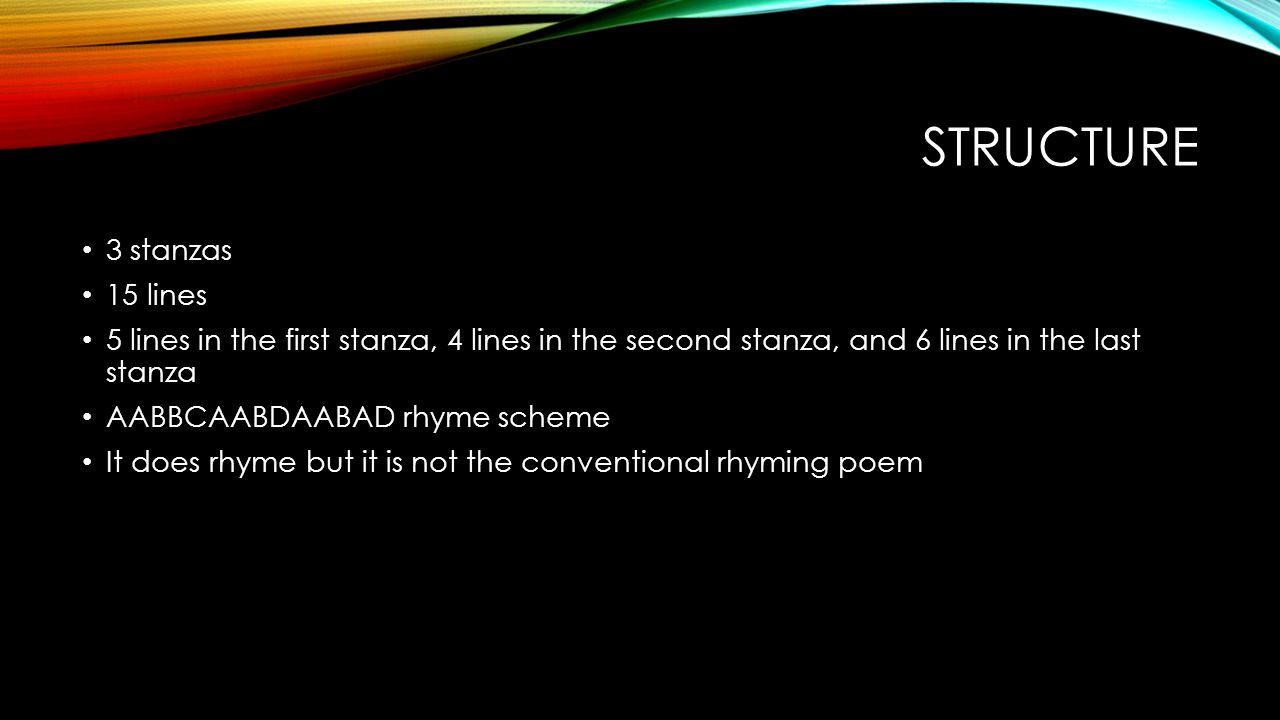 structure 3 stanzas 15 lines